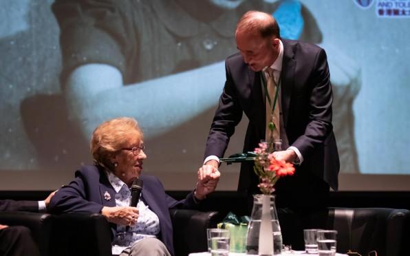 Our principal, Mr Weghoff, with holocaust survivor Eva Schloss