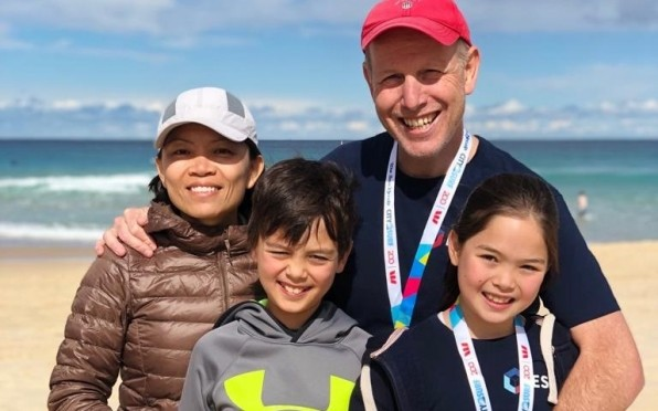 Philip Pearce ('85) pictured here with his wife Sharon, and children Tom and Phoebe