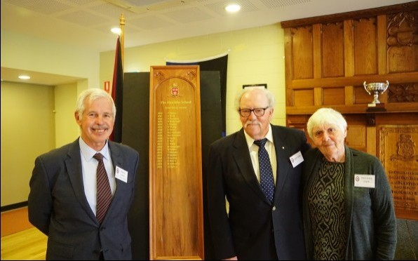 President of the HSOBA Mr Barrie Irons, Ivied Tower Award winner John Clark ('50) and his wife Henri