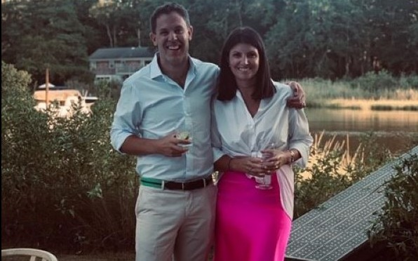 Ben Groom ('02) with wife Amy at their house in Southampton NY