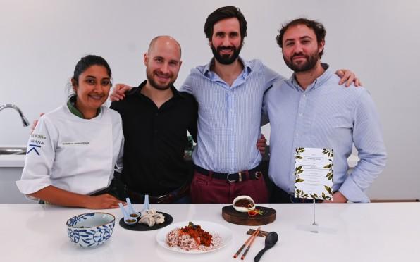 Blair (third from left) at a Karana food testing