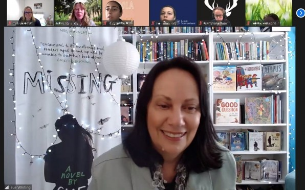 Sue Whiting presents at a virtual Author Visit for Years 5 and 6