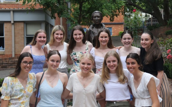 Isabella Greenhalgh (top row, 2nd from left) at HSC Morning Tea celebrating the Class of 2020