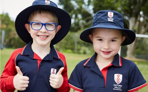 Sample uniforms for our infants at Oxford Falls Grammar