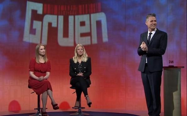 Lindsay Rogers (right) on set of ABC's Gruen