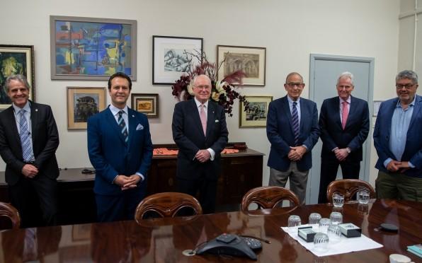 Bruce Corlett AM ('61) with Paul Almond ('81), Paul Harapin ('83), President, Ron Schwarz ('62)